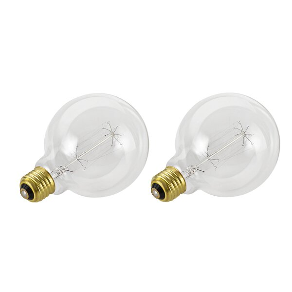 60W E26 Incandescent Edison Globe Light Bulb (Set of 2) by Aspen Creative Corporation