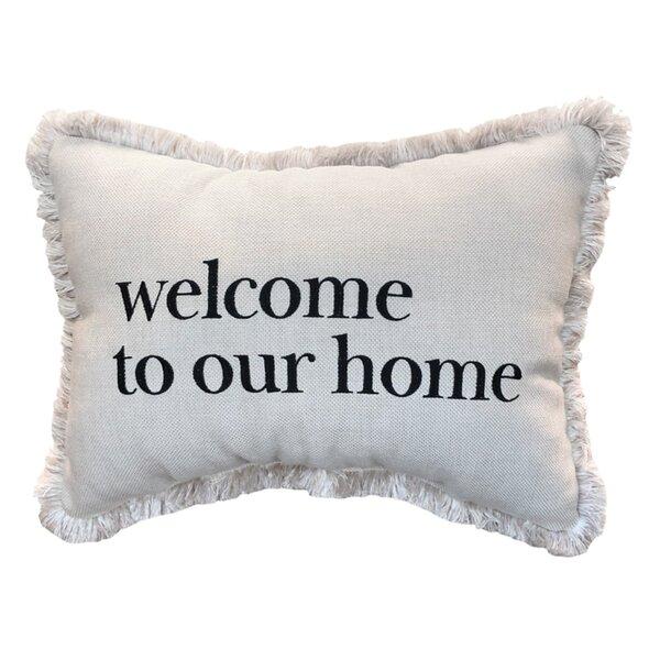 Vijaya Welcome to our Home Sunbrella Lumbar Pillow