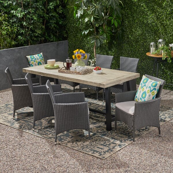 Mullenax Outdoor 9 Piece Dining Set with Cushions by Ivy Bronx