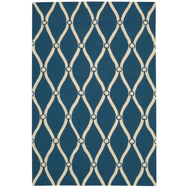 Merganser Hand-Tufted Navy/Beige Indoor/Outdoor Area Rug by Breakwater Bay