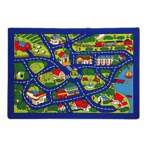 Paradise Design Street Map Blue Area Rug