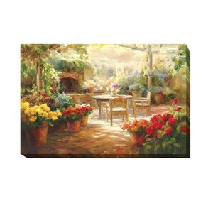 'Shaded Patio' Oil Painting Print on Wrapped Canvas by Artistic Home Gallery