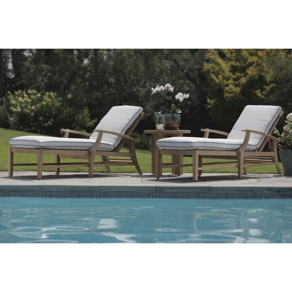 Croquet Teak Chaise Lounge with Cushion and Side Table