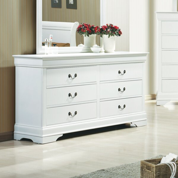 Melcher 6 Drawer Double Dresser with Mirror by Canora Grey