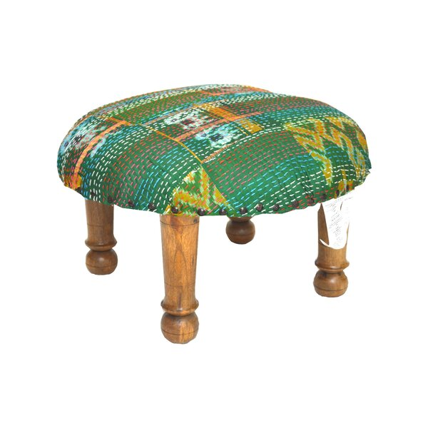 Kantha Stitched Ikat Ottoman by Divine Home