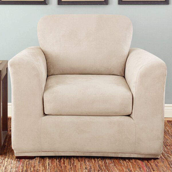 Stretch Suede Box Cushion Armchair Slipcover By Sure Fit