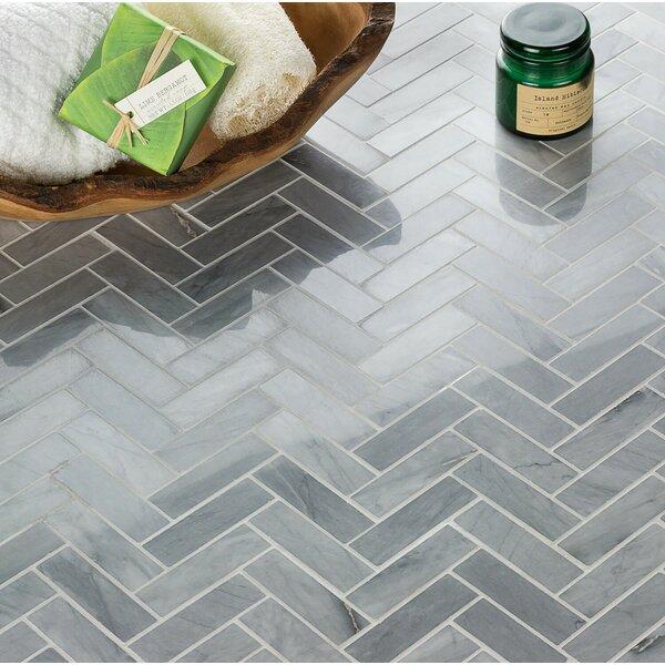Stowe Herringbone 1 x 3 Marble Mosaic Tile in Gray by Splashback Tile