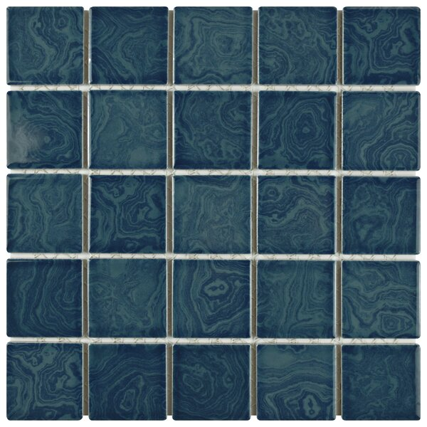 Utopia 2 x 2 Porcelain Mosaic Tile in Glazed Coral Blue by EliteTile