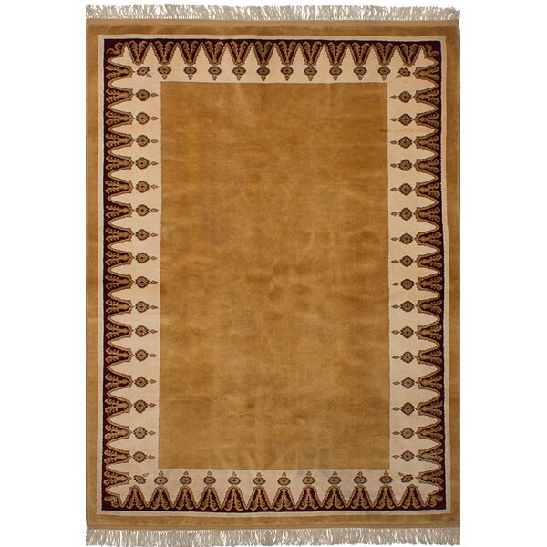 One-of-a-Kind Bettina  Hand-Knotted Wool Light Brown Area Rug by Bloomsbury Market