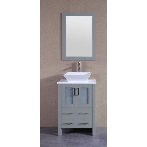 Amadis 24 Single Bathroom Vanity Set with Mirror by BosconiAmadis 24 Single Bathroom Vanity Set with Mirror by Bosconi