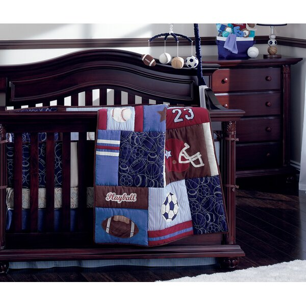 Play Ball Traditional 4 Piece Padded Crib Bumper b