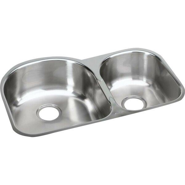 31.25 L x 20 W Double Basin Undermount Kitchen Sink by Elkay