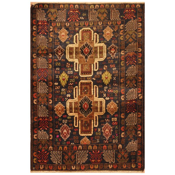One-of-a-Kind Ellerman Balouchi Hand-Knotted Wool Brown/Navy Area Rug by Bloomsbury Market