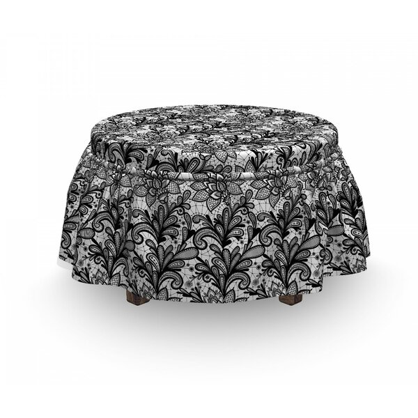 Review Victorian Lace 2 Piece Box Cushion Ottoman Slipcover Set