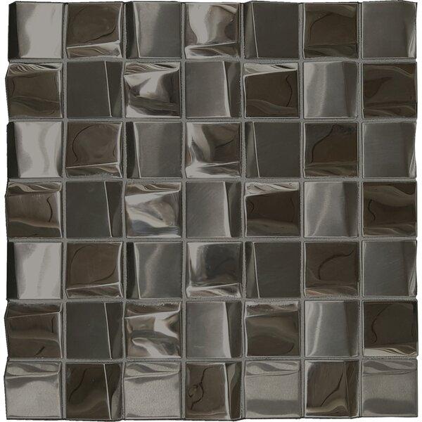 Facade 1.7 x 1.7 Metal Mosaic Tile in Mercury by Solistone