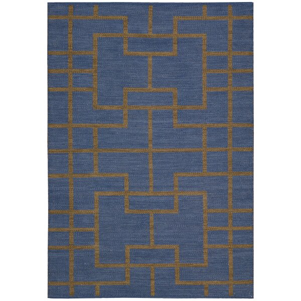 Maze Ocean Navy Area Rug by Barclay Butera