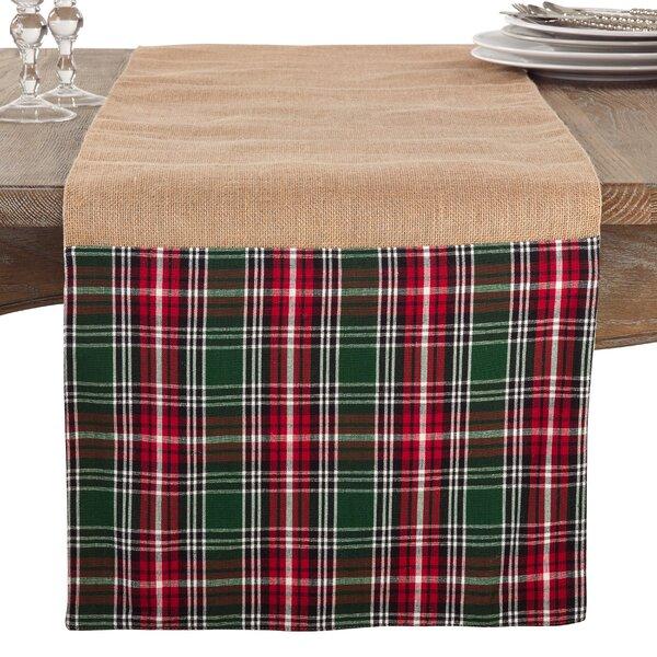 gracie oaks kating plaid ruffle holiday jute christmas table runner wayfair - Christmas Plaid Table Runner