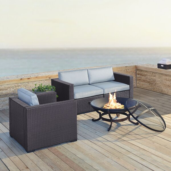 Seaton 4 Piece Sectional Seating Group with Cushions by Sol 72 Outdoor