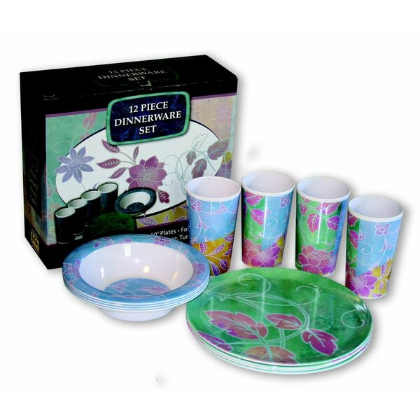 Flower Decor Melamine 12 Piece Dinnerware Set, Service for 4 by MotorHead Products