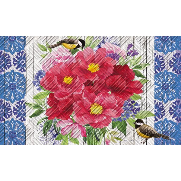 Borrero Peonies Bouquet Embossed Doormat by August Grove