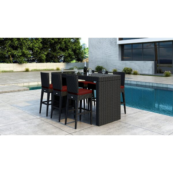 Glendale 7 Piece Bar Height Dining Set with Sunbrella Cushion by Everly Quinn