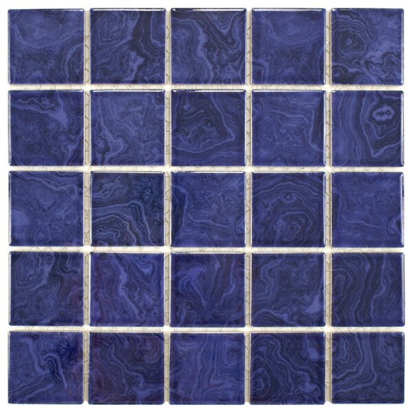 Utopia 2 x 2 Porcelain Mosaic Tile in Glazed Blue by EliteTile