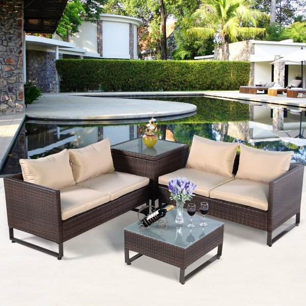 Gemi Patio 4 Piece Rattan Sofa Seating Group with Cushions by Latitude Run