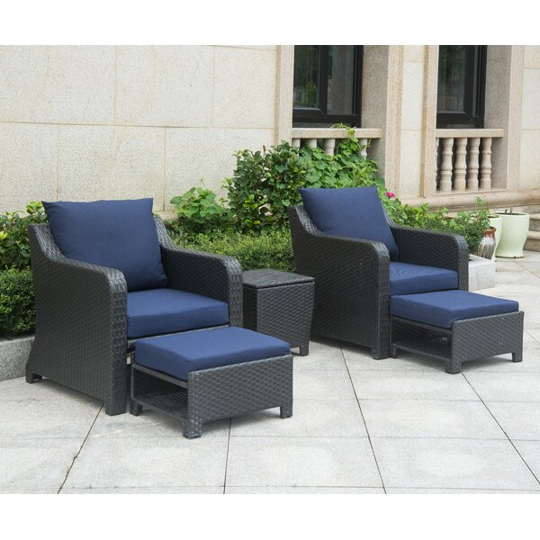 Pennell 5 Piece Rattan Conversation Set with Cushions (Set of 5) by Andover Mills