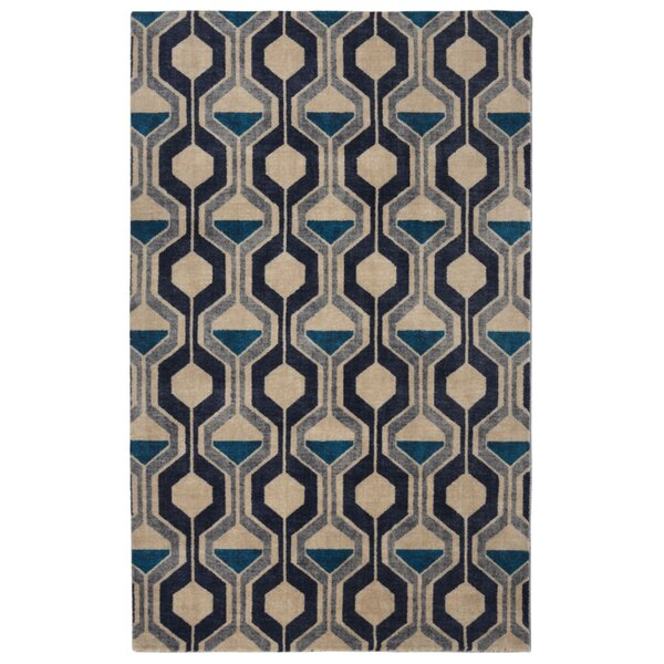 Pacheco Ring Road Mid-Century Modern Geometric Blue/Beige Area Rug by George Oliver