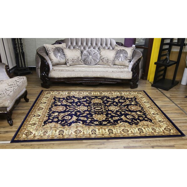 Passion Navy/Beige Area Rug by Beyan Signature