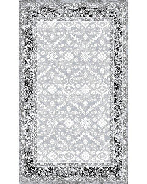 Daisy Silver/Slate Gray Area Rug by One Allium Way
