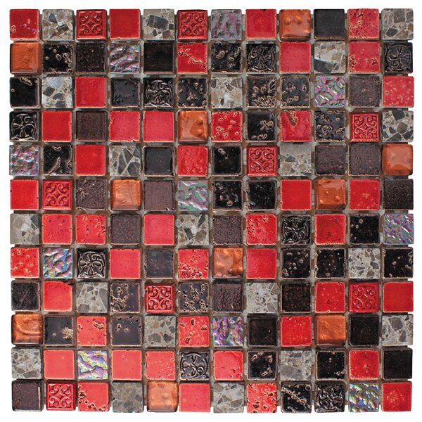 1 x 1 Glass and Natural Stone Mosaic Tile in 3 Color Blend by Intrend Tile