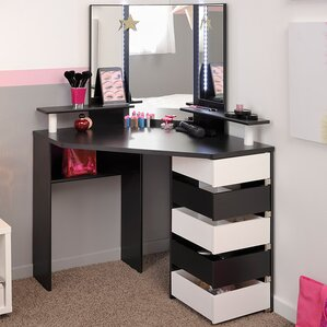 Volage Makeup Vanity with Mirror Corner Table  Wayfair
