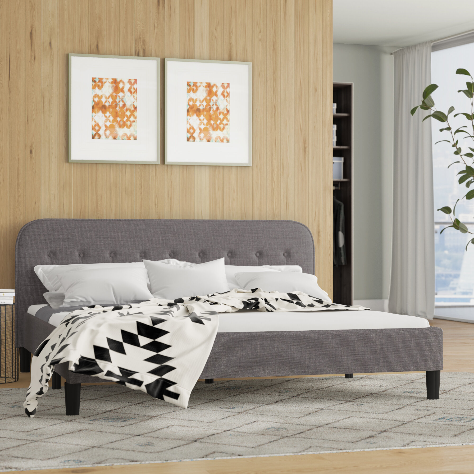 Picture of: Wrought Studio Bierman Tufted Upholstered Platform Bed Reviews