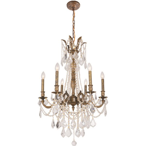 Angola 6 - Light Candle Style Empire Chandelier By B&S Lighting