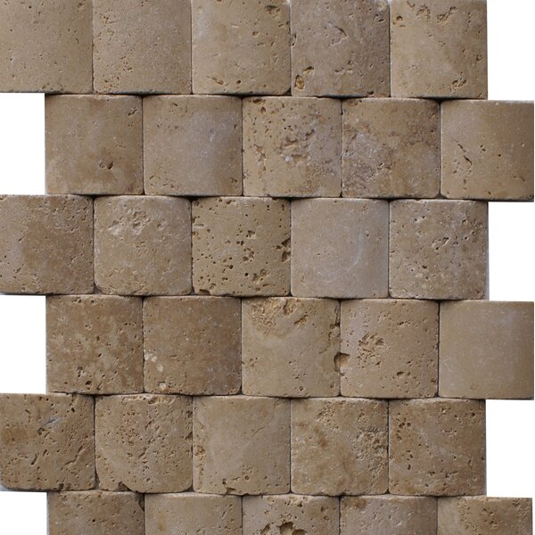 Noce Pillowed 2 x 2 Travertine Mosaic Tile in Brown by Epoch Architectural Surfaces