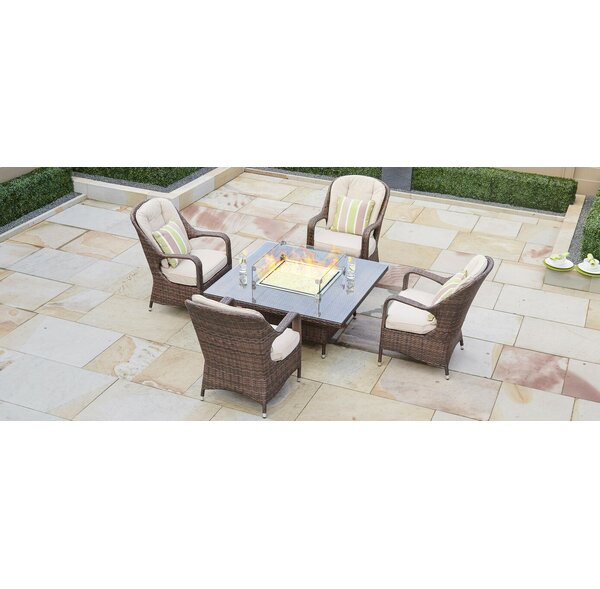 Lepley 5 Piece Dining Set With Firepit By Rosecliff Heights