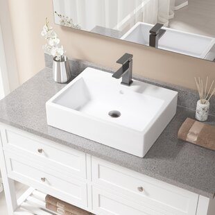 Savings Vitreous China Rectangular Vessel Bathroom Sink with Faucet and Overflow ByMR Direct