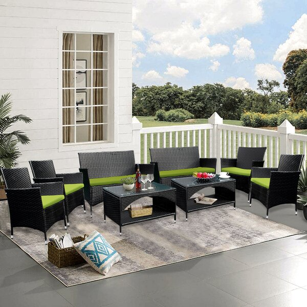 Owosso 8 Piece Rattan Sofa Seating Group with Cushions