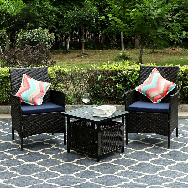 Patio 3 Piece Bistro Set with Cushions