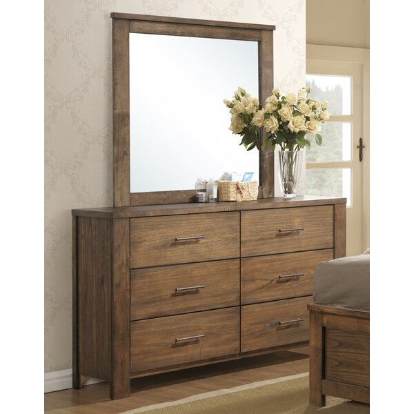 Cayuse 6 Drawer Double Dresser with Mirror by Loon Peak