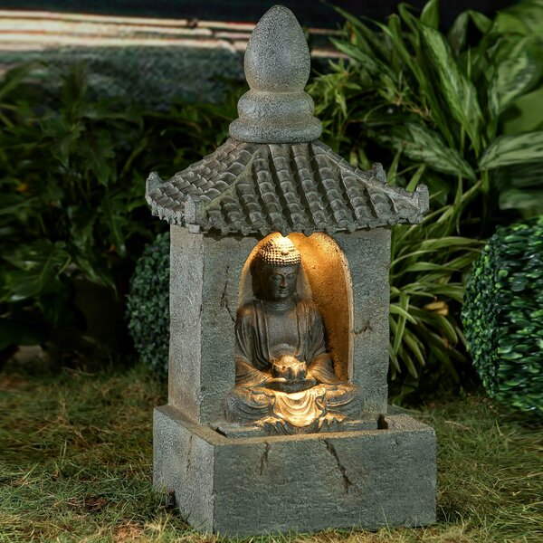 Resin/Fiberglass Buddha Water Fountain with LED Light by Jeco Inc.