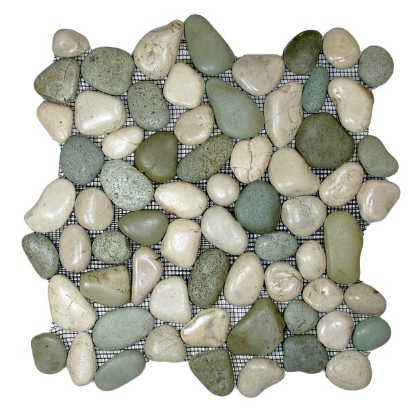 Ganges Random Sized Natural Stone Mosaic Tile in Green/White by CNK Tile