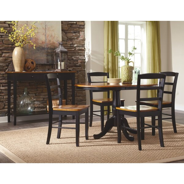 Polito Pedestal Extendable 5 Piece Solid Wood Dining Set by Charlton Home