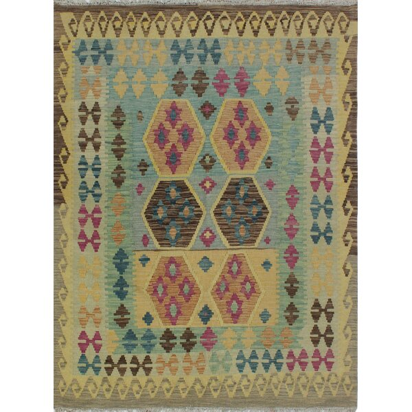 Corda Hand-Knotted Wool Purple/Cream Area Rug by Bungalow Rose