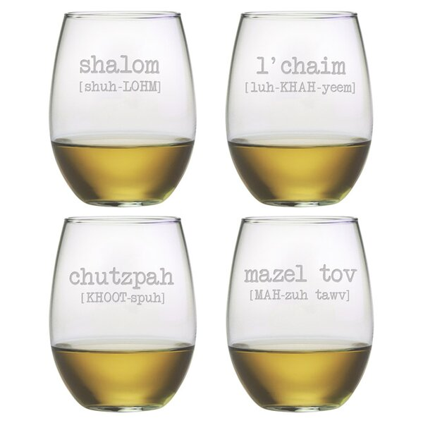 Shalom Stemless Wine Glass by Susquehanna Glass