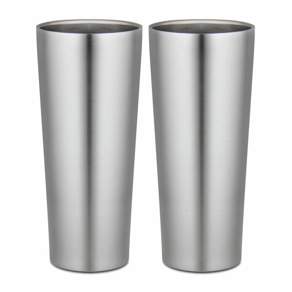 16 oz. Stainless Steel Pint Glasses (Set of 2) by Kegco