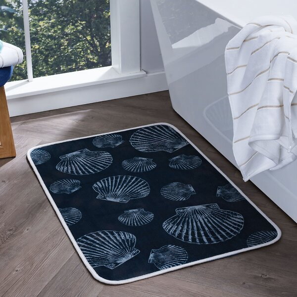 Dunbar Seashells Foam Core Comfort Bath Rug by Highland Dunes