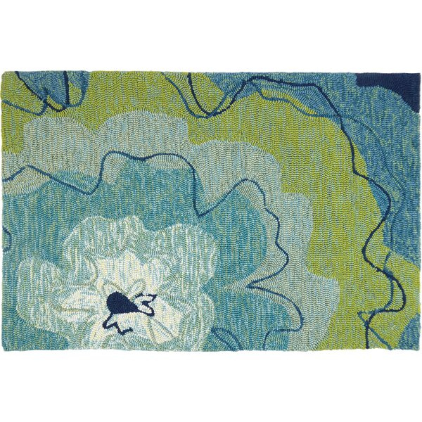 Eastlake Blossom Hand-Woven Blue Indoor/Outdoor Area Rug by Ebern Designs