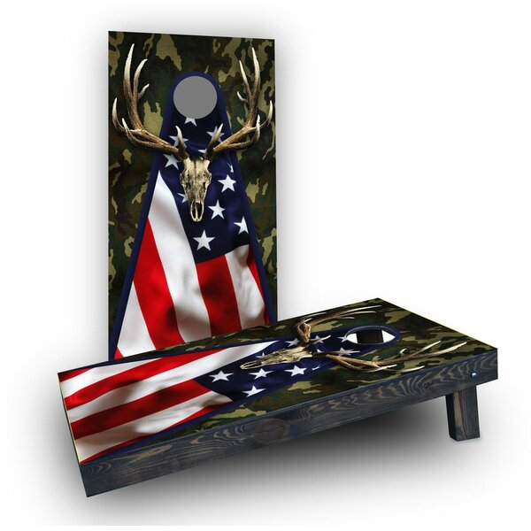 Patriotic Deer Mount with Camouflage Cornhole (Set of 2) by Custom Cornhole Boards